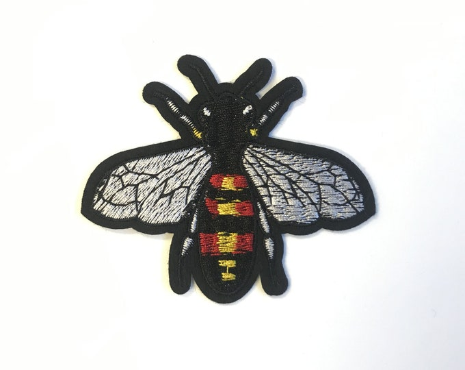 Bee Embroidered Applique, Sew or Iron on Patch