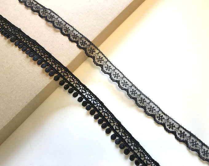 Black 2 Various Width and Shape Lace Trim polyester