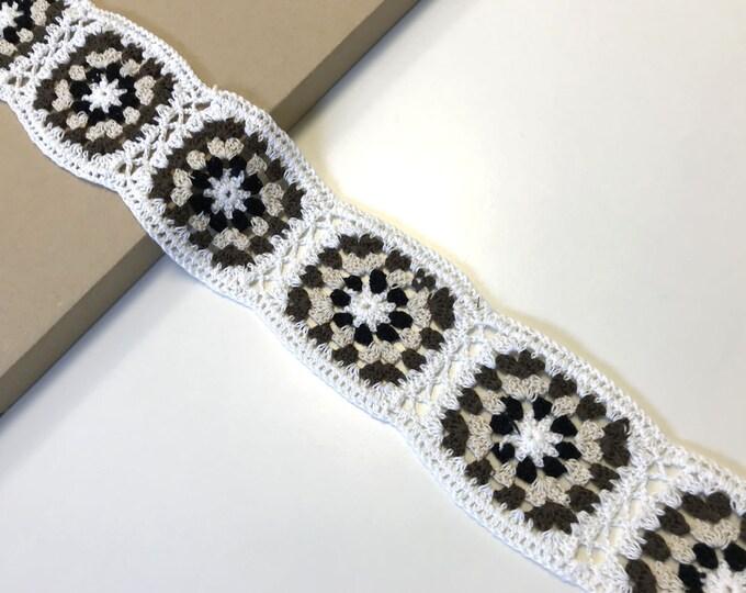 "Hand knit crochet 3"" width trim"