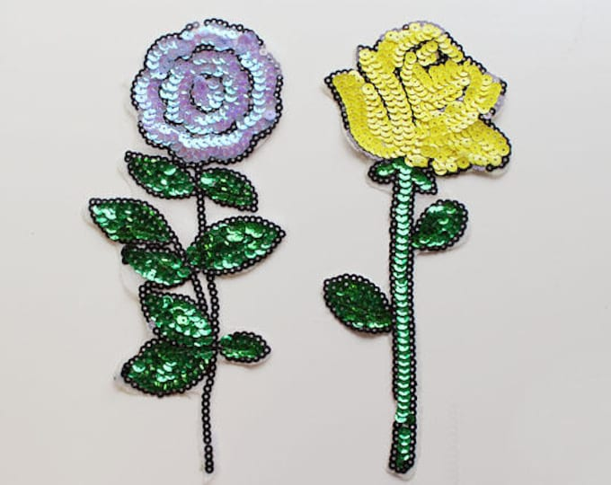 Flower Sequined Applique, Sew on Spangle Patch, Yellow Rose, Purple Flower