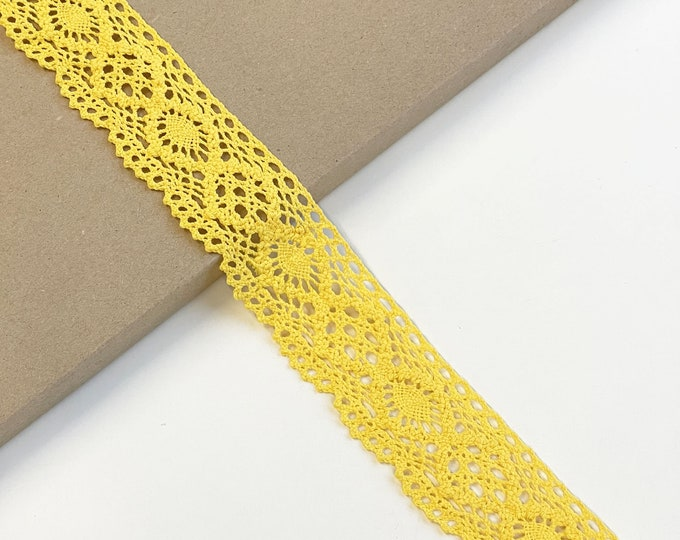 "Yellow Cotton Lace Trim 1 3/4"" Width (LTF-1)"