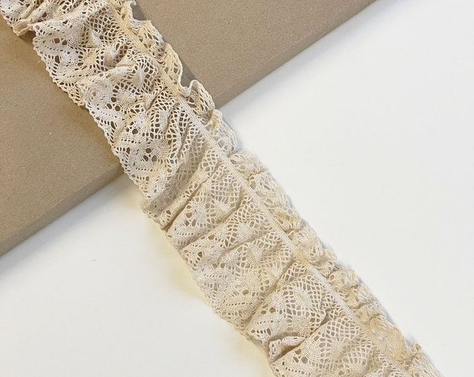 "Natural Beige Cotton lace with elastic shirring trim 3""(Selling per yard) (LTF-1)"