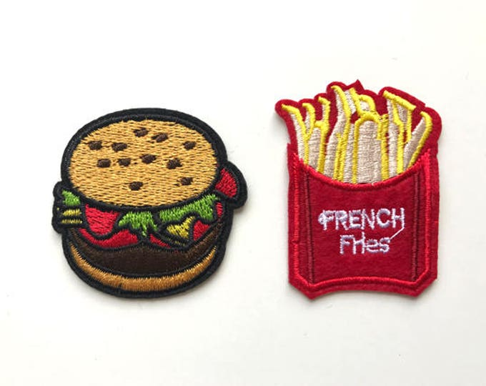 Cute patches to iron on your kid's tee, lunch box or bag.. Yummy Burger, Fries