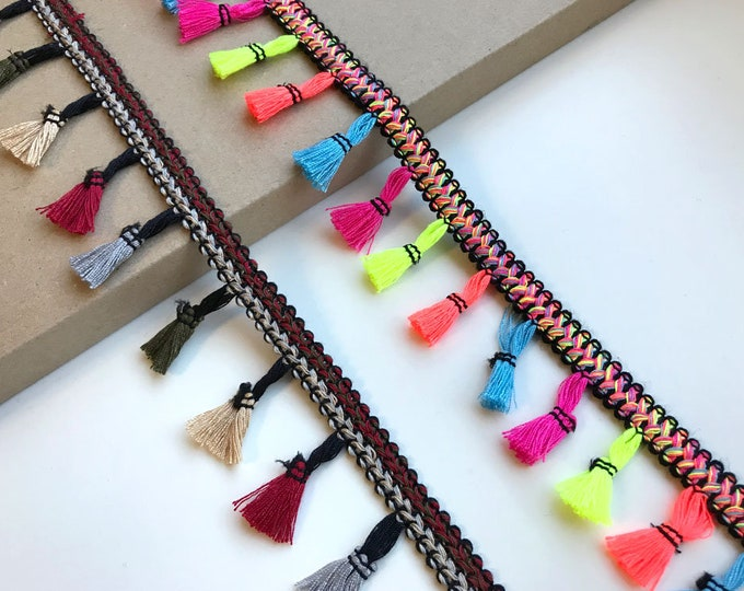 Multi color fringe tassel tape trim(2 types)