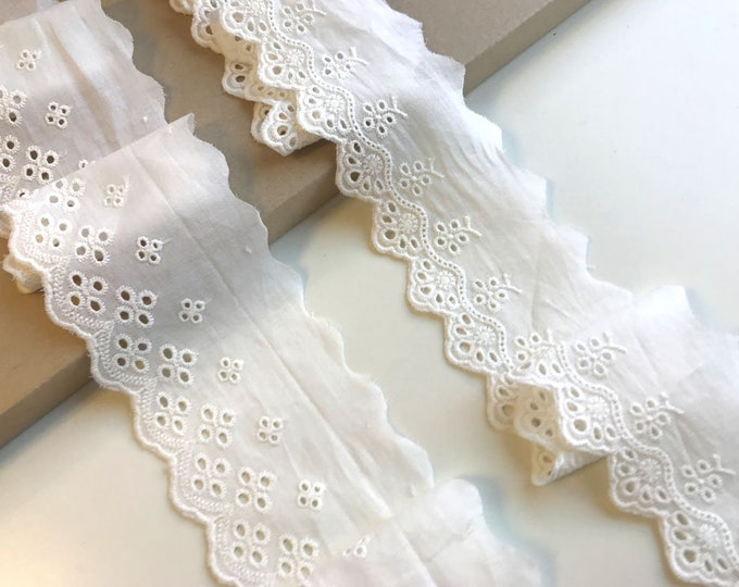 OFF White Cotton Eyelet Lace tape trim