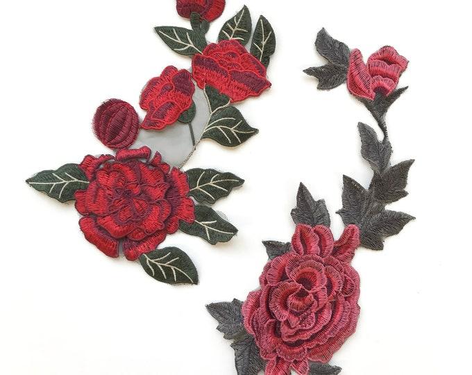 3D Multi color Rose Embroidered Applique Patch (LOC Patch 2)