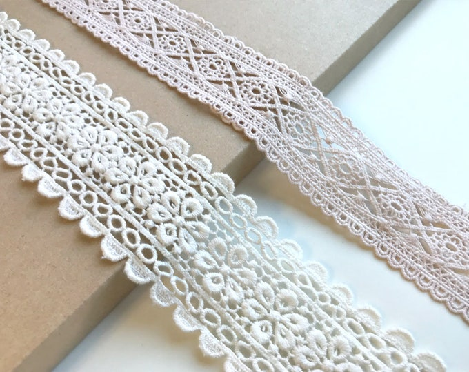 Peach color, Off white 2 Various Width and Shape Lace Trim
