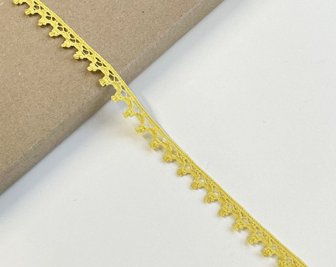 "Yellow Cotton Edge Lace Trim 1/2""(Selling per yard) (LTF-1)"