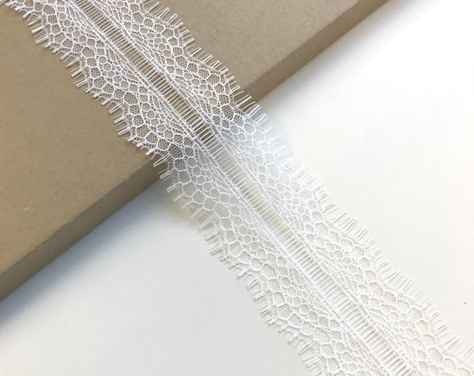 Selling per 3yds/piece: Off White scallop shape eyelash Lace Trim (LT13)
