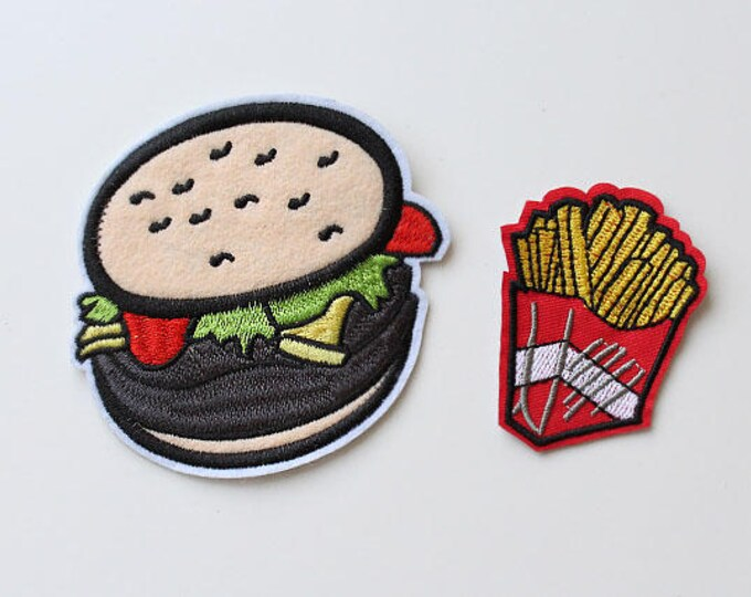 Cute Patch to iron on your kid's lunch box or bag.. Yummy Burgur, Fries