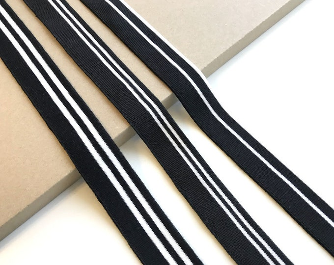 3 black/white stripe flat knit rib band tape