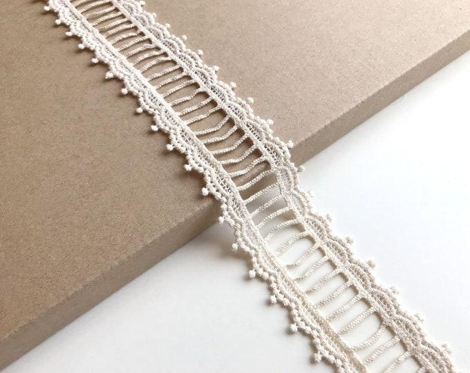 """Natural color 1 1/2"""" ladder shape lace trim"""