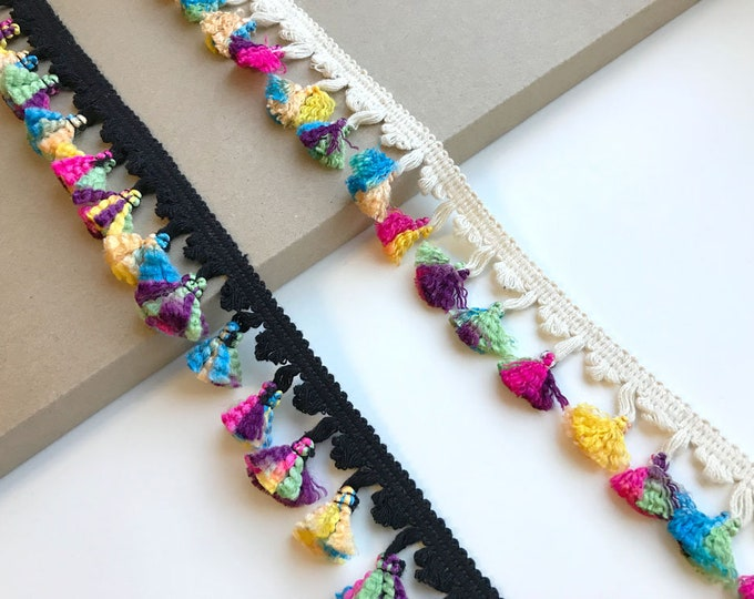 Multi color fringe tassel tape trim