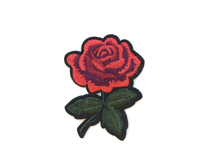 Red Rose Embroidered Applique, Iron on Patch