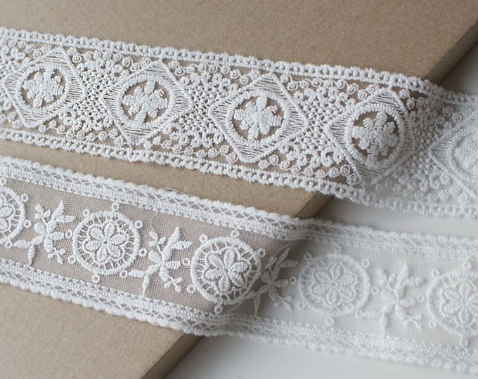 "Off white various shaped 2"" off cotton lace mesh trim"