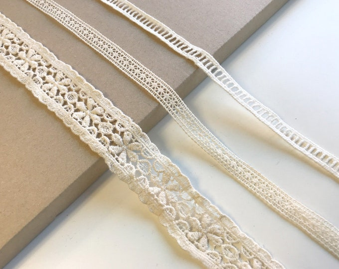 White, Natural 3 Various Width and Shape Lace Trim