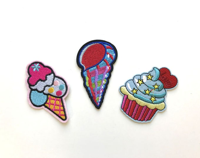 3 Various Embroidery Applique(Ice cream), Iron on Patch, Sew on Patch