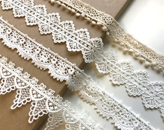 Natural, Off White 4 Various Width and Shape Cotton Lace Trim