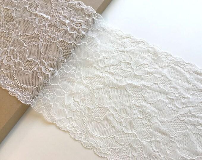 """OFF White 7"""" width stretch lace trim"""