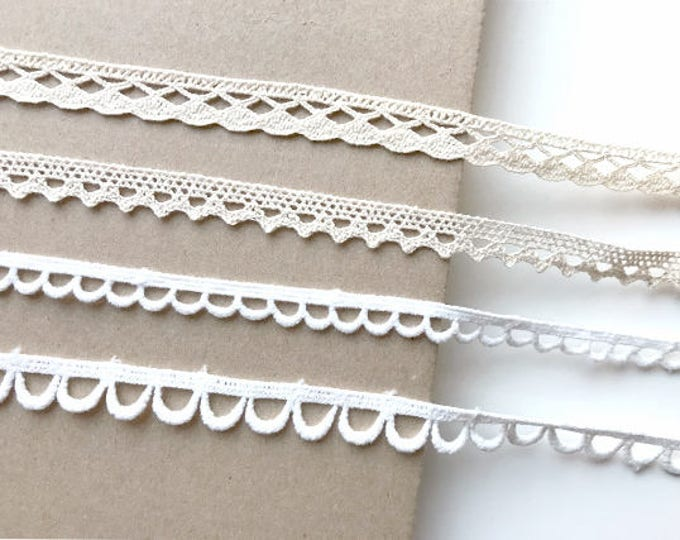 Natural, Off White 4 Various Width and Shape Cotton Lace Trim(LT3)