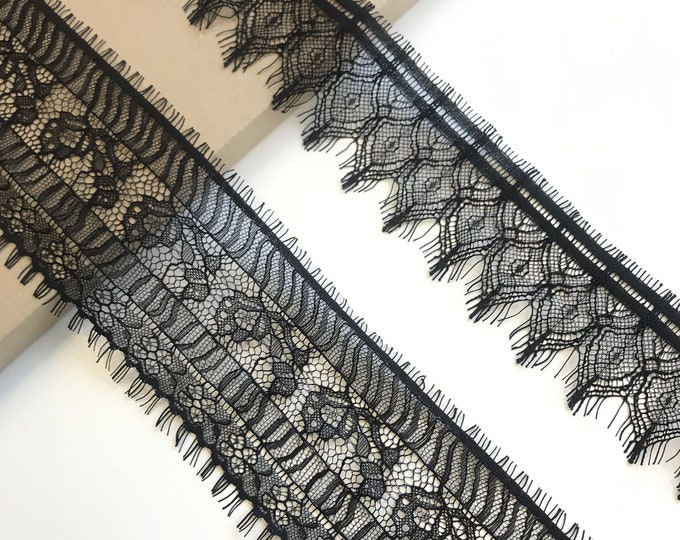 Selling 3yds/piece: Black Eyelash Lace Trim 2 styles(LT12)