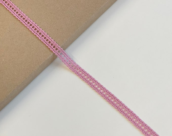 "Mauve Pink Cotton Lace Trim 1/2""(Selling per yard) (LTF-1)"