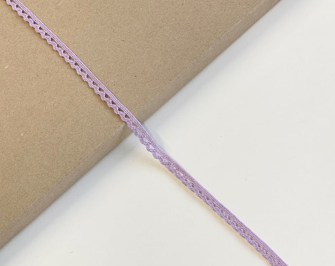 "Light Purple Cotton Edge Lace Trim 3/8""(Selling per yard) (LTF-1)"