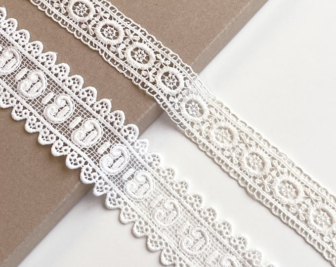 Natural, Off White Various Width and Shape Cotton Lace Trim (LT4)