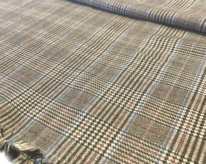 "Yarn dyed plaid - Grey/blue combo brushed fabric 55/56"" (Selling per yard)"
