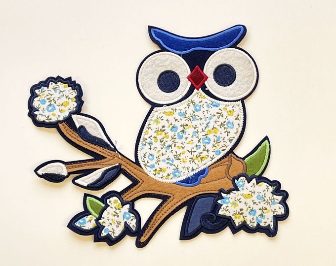 OWL Embroidered Applique, Sew on Patch (PATCH2)