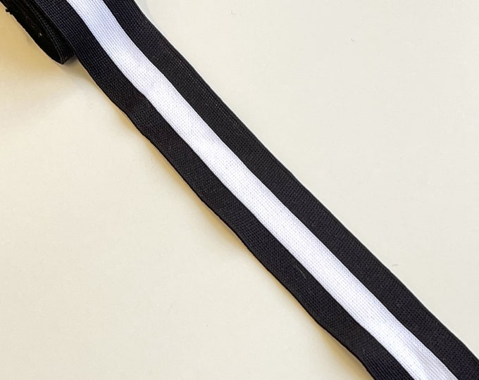 "Black/Off White 1 1/4"" rib knit trim(FT8)"