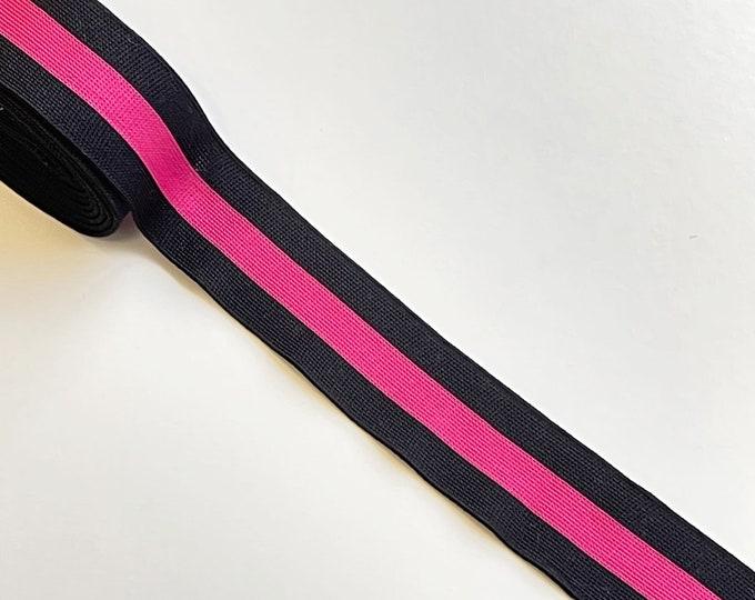"""Black/Pink 1 1/4"""" rib knit trim(FT8)"""