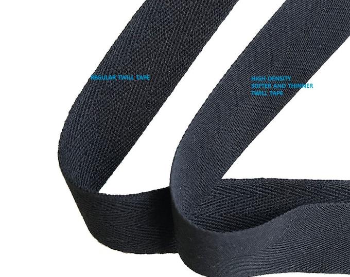 """Black Soft and fine Cotton twill tape( 1/2, 3/4, 1, 1 1/2"""", 2"""") -  PetiteCocoCrafts Signature cotton ribbon collection"""