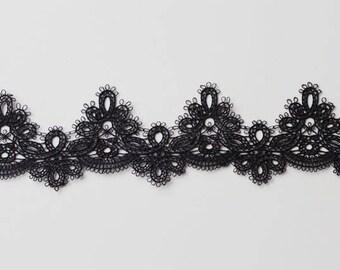 """Black 2"""" Vintage Pagoting Lace Trim"""