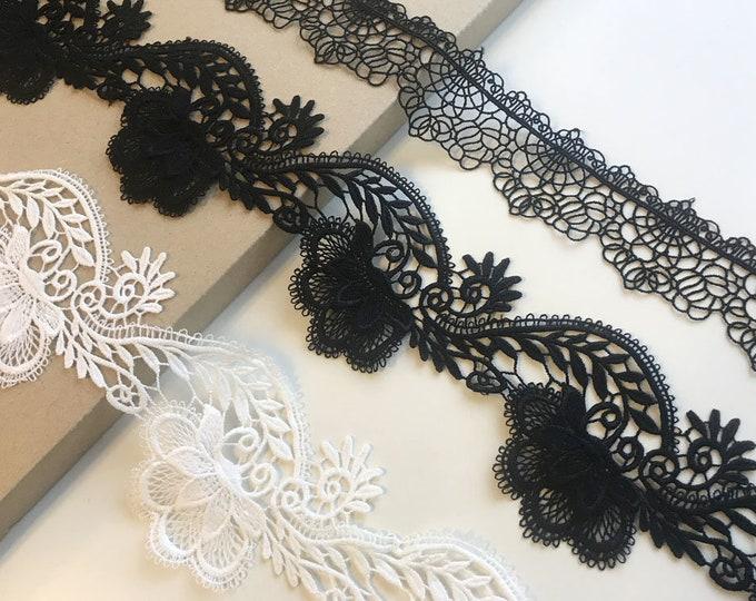 Black, White 2 Various Width and Shape Lace Trim (LT19)
