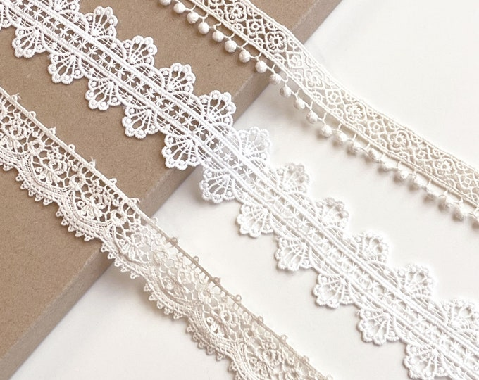 Natural, Off White 3 Various Width and Shape Cotton Lace Trim(LT4)