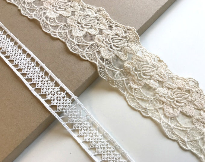 Off white, Natural  2 Various Width and Shape Lace Trim (LT3)