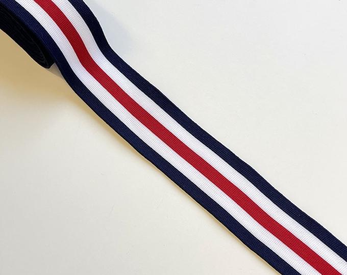 """Navy/Off White/Red 1 1/2"""" rib knit trim(FT10)"""