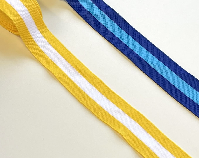 """Multiple colorway 1 1/4"""" rib knit trim - Blue combo, Yellow combo (FT10)"""