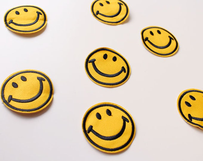 Smile Face Embroidered Applique, Iron or Sew on Patch