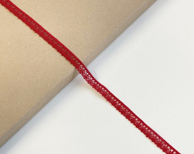 """Red Cotton Edge Lace Trim 1/2""""(Selling per yard) (LTF-1)"""
