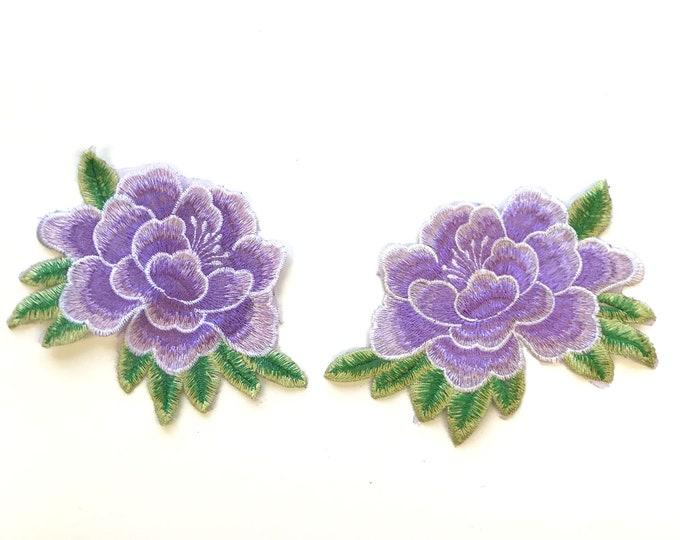 Purple floral Embroidered Applique Patch (LOC Patch 2)