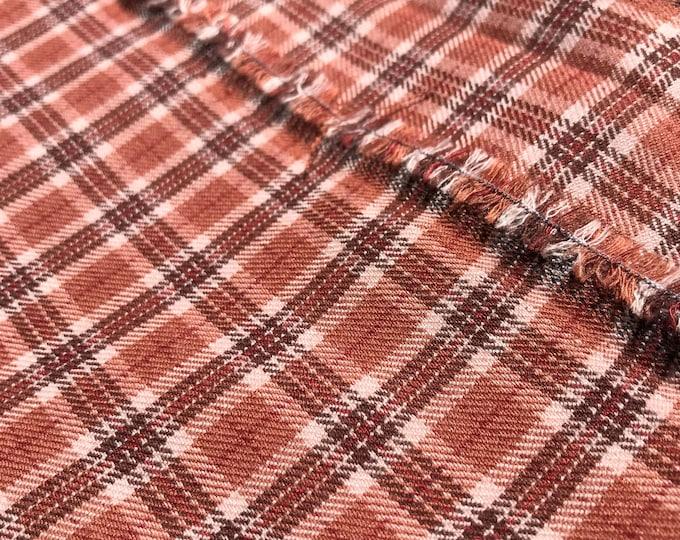 "Yarn dyed plaid - Rust combo brushed fabric 55/56"" (Selling per yard)"