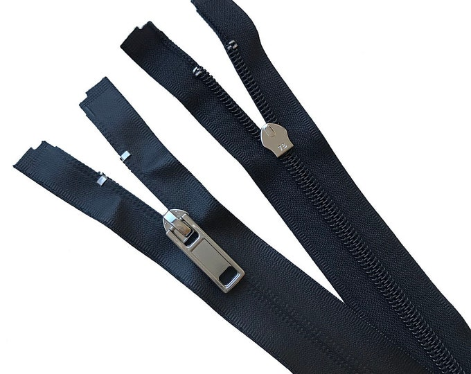 """Water proof nylon coil open zipper 17 3/4"""" with shiny silver puller"""