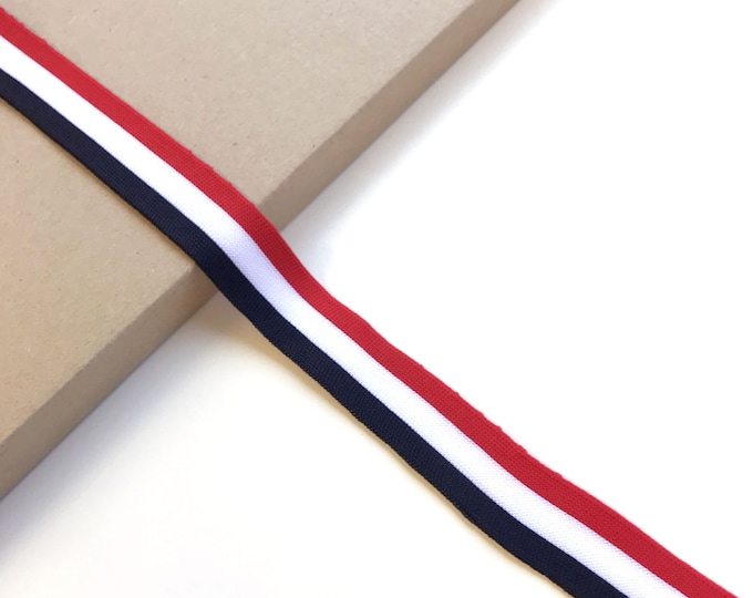 """Red/White/Navy combo - 3/4"""", 1"""", 1 1/8"""" width rib knit trim(FT3)"""