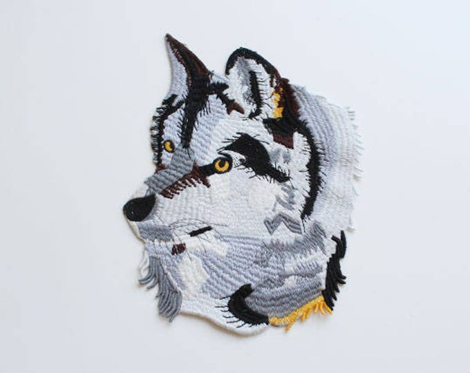 Grey Wolf with Yellow Eyes Embroidered Applique, Sew on Patch