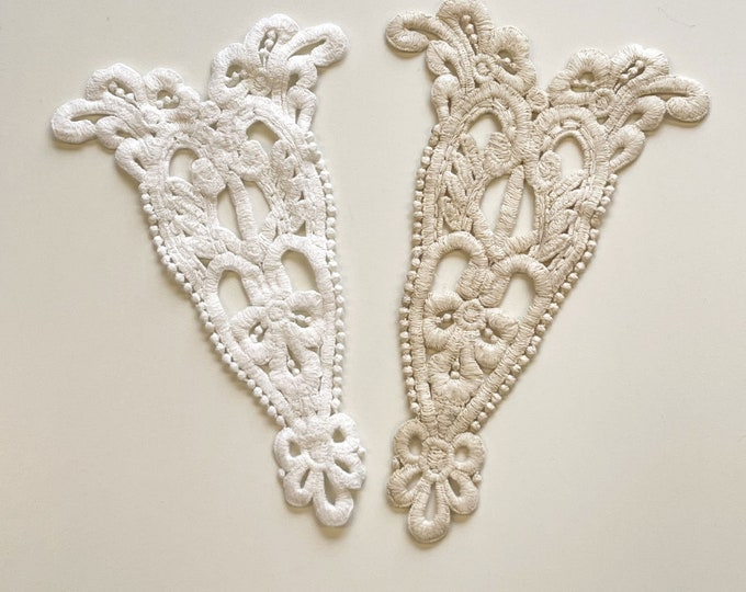 Cotton lace applique, patch - Off white, Natural(PATCH 3)