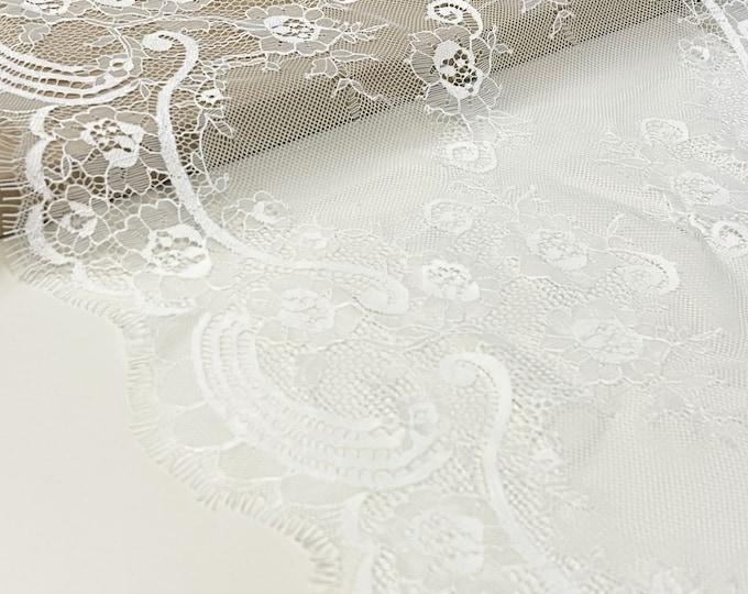 Selling per 3yd/piece: Off White Eyelash Lace Fabric/Trim (LT18)