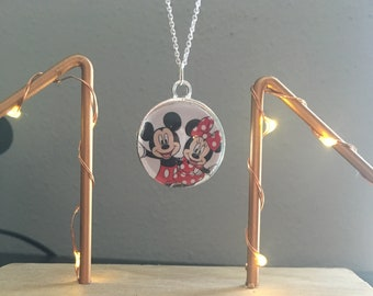 Disney Mickey Mouse and Minnie Mouse Pendant Necklace