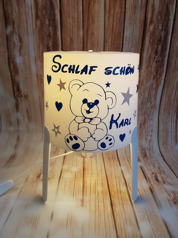 Lampe Personalisiert Teddybär Geburt Taufe Geschenk Baby Kind Kinderzimmer Deko Home Handmade Individuell